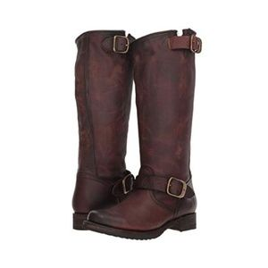 Frye Veronica Slouch Motorcycle Style Boots Brown